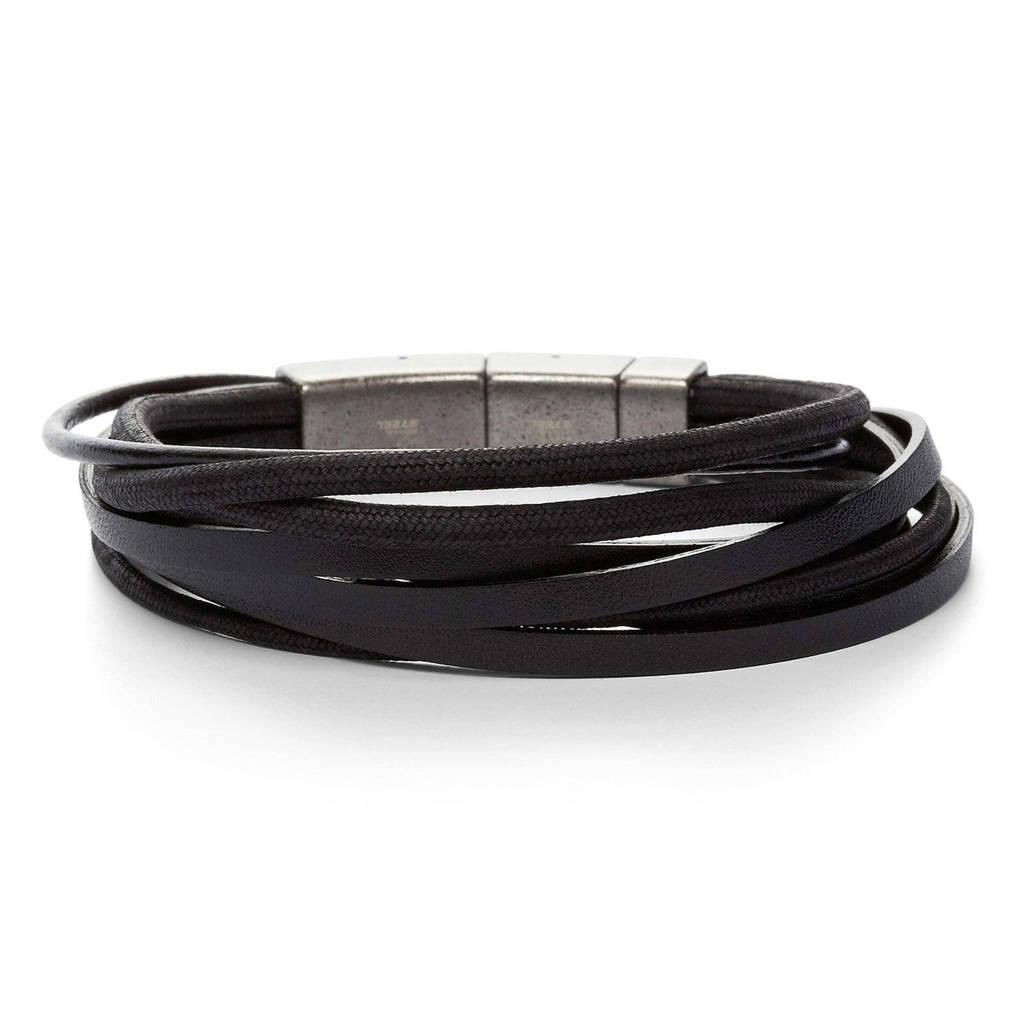 Fossil heren armband Vintage Casual JF86182040, Zwart
