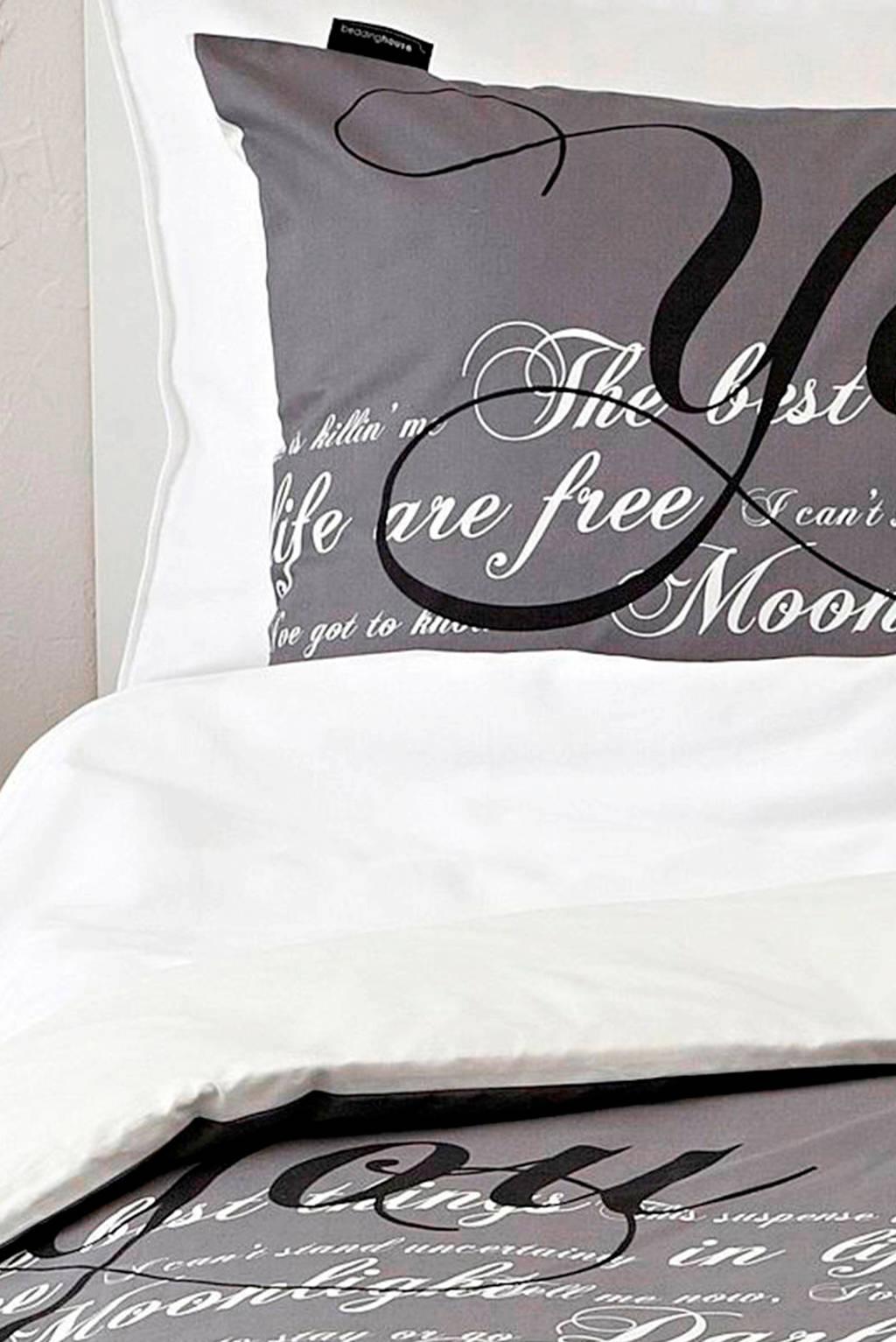 Beddinghouse katoenen dekbedovertrek lits jumeaux, Antraciet/zwart/wit, Lits-jumeaux (240 cm breed)