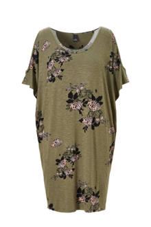 jurk met bloemenprint en cut out details