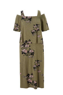 off shoulder jurk met bloemenprint
