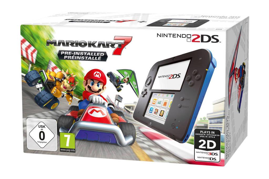 Nintendo 2DS + Mario kart 7, Zwart + blauw
