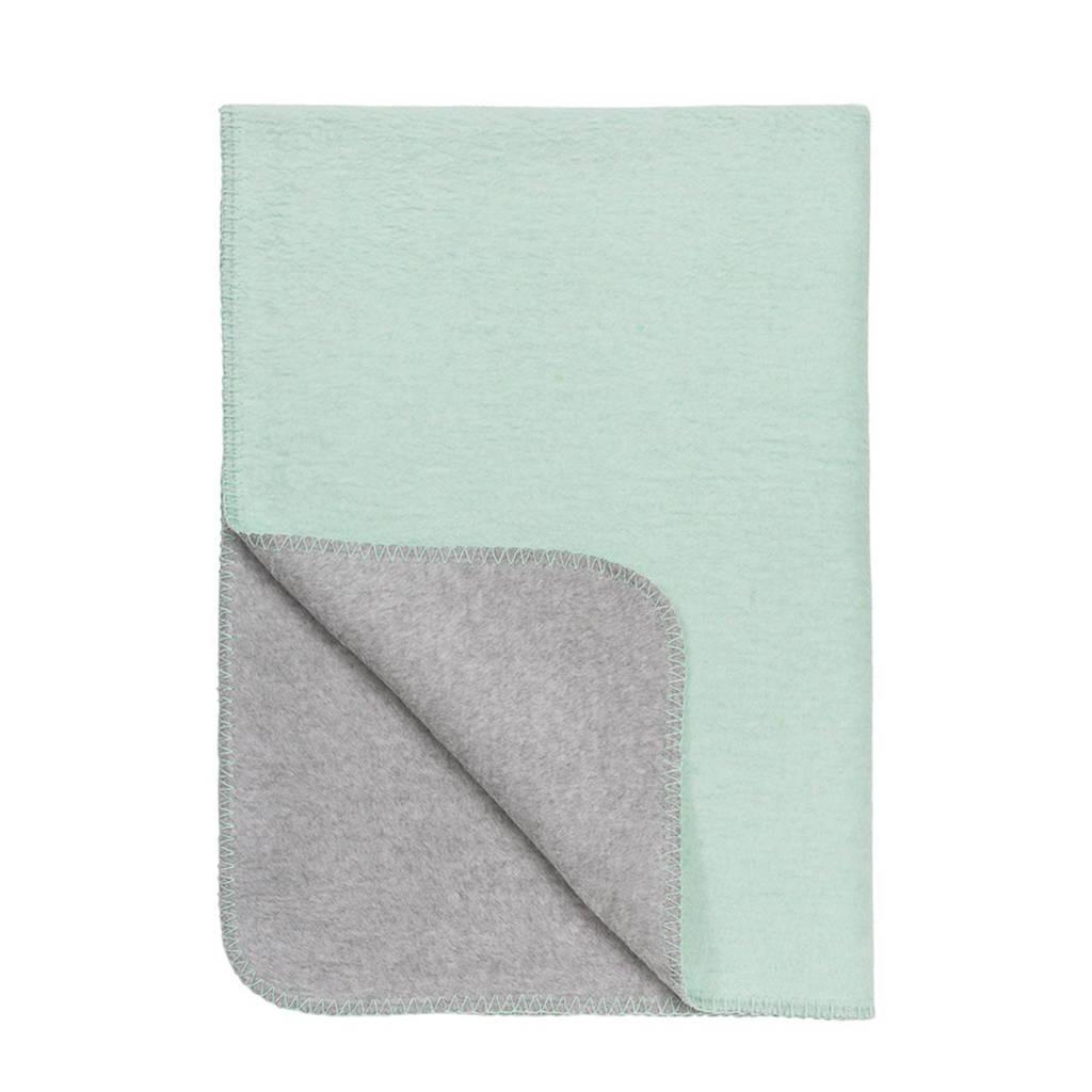 Meyco Tweekleurig wiegdeken 75x100 cm mint/grijs, Mint/Grijs