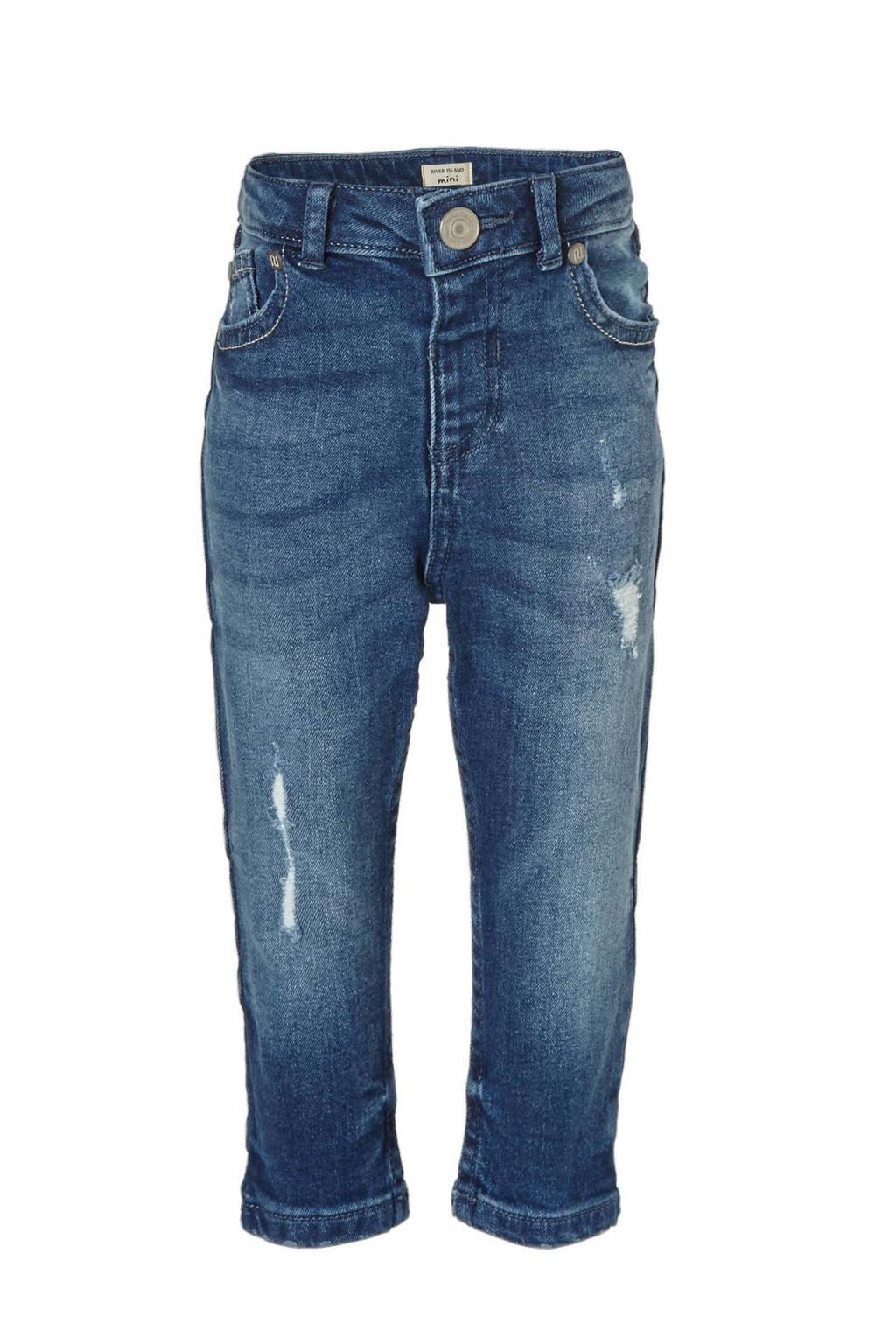 River Island skinny jeans met slijtage details Sid, Blauw