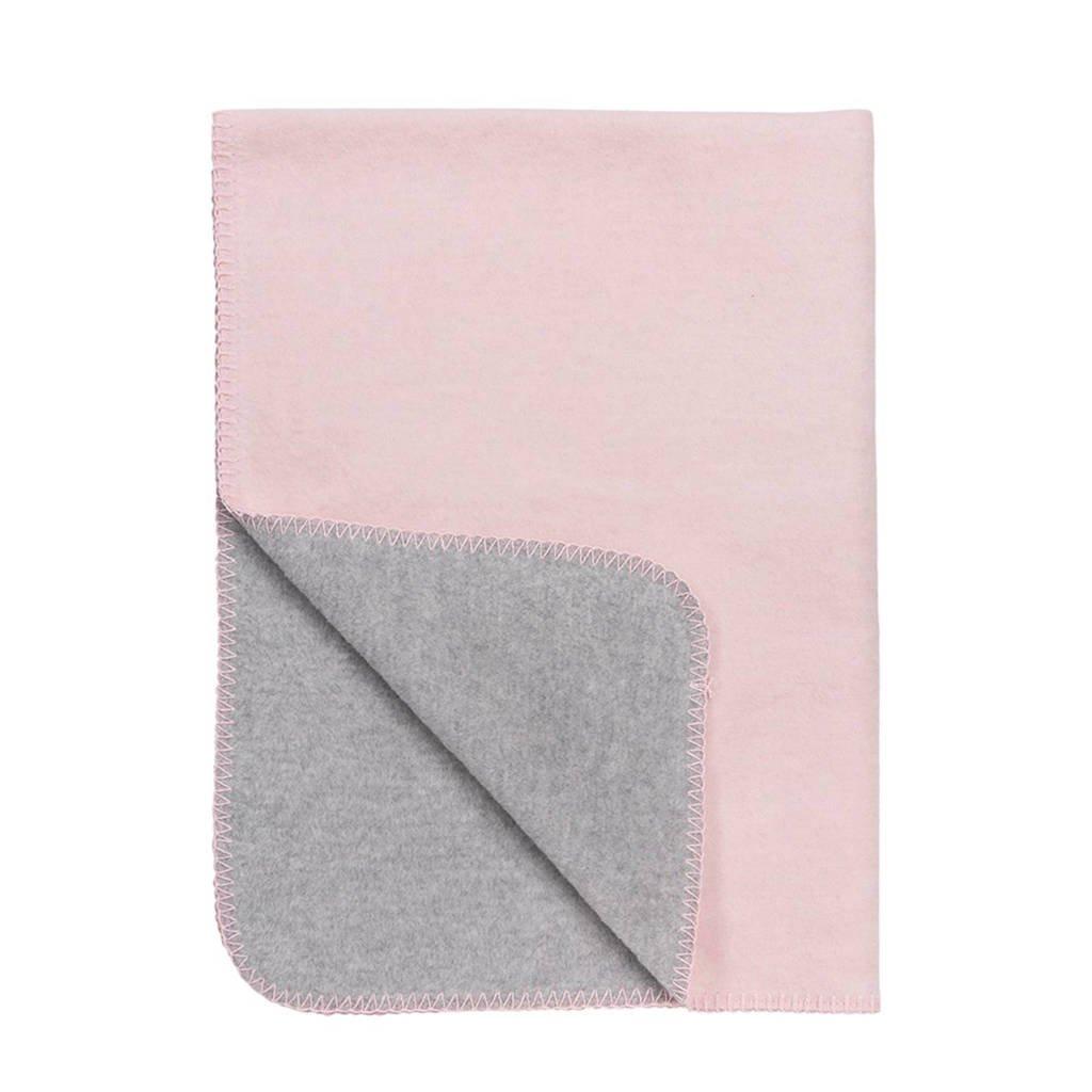 Meyco Double Face ledikantdeken 100x150 cm roze/grijs, Roze/grijs