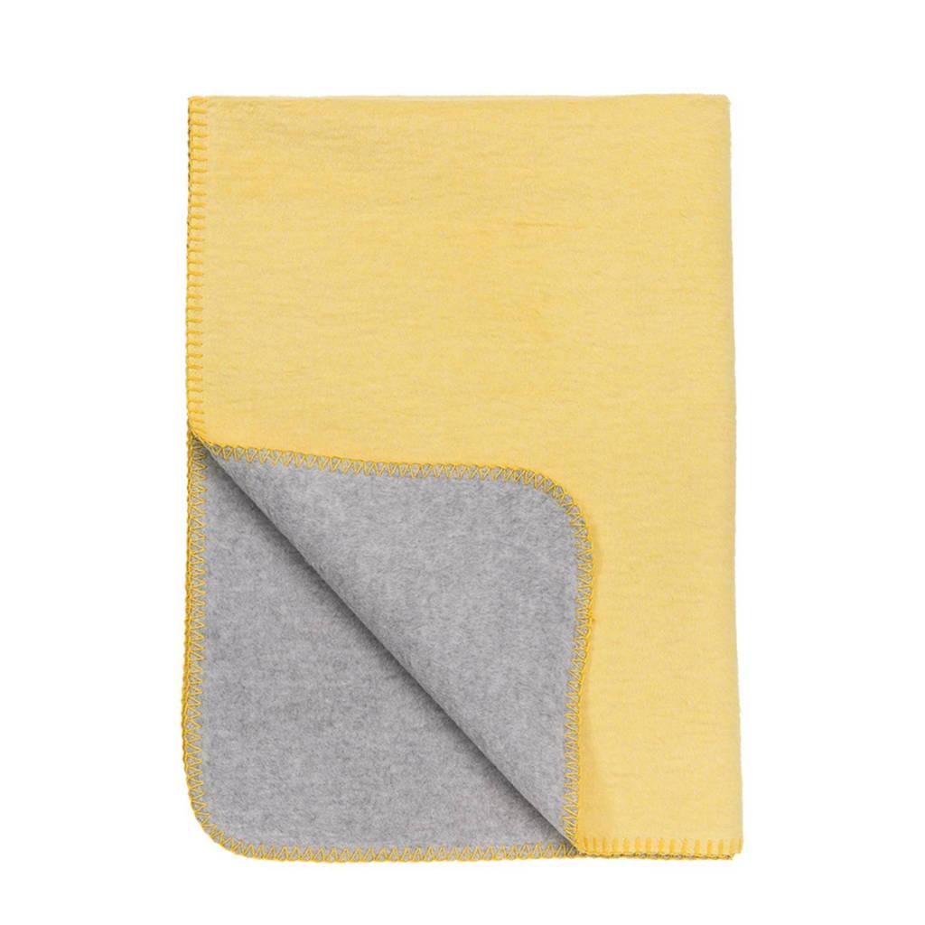 Meyco Double Face ledikantdeken 100x150 cm geel/grijs, Geel/grijs
