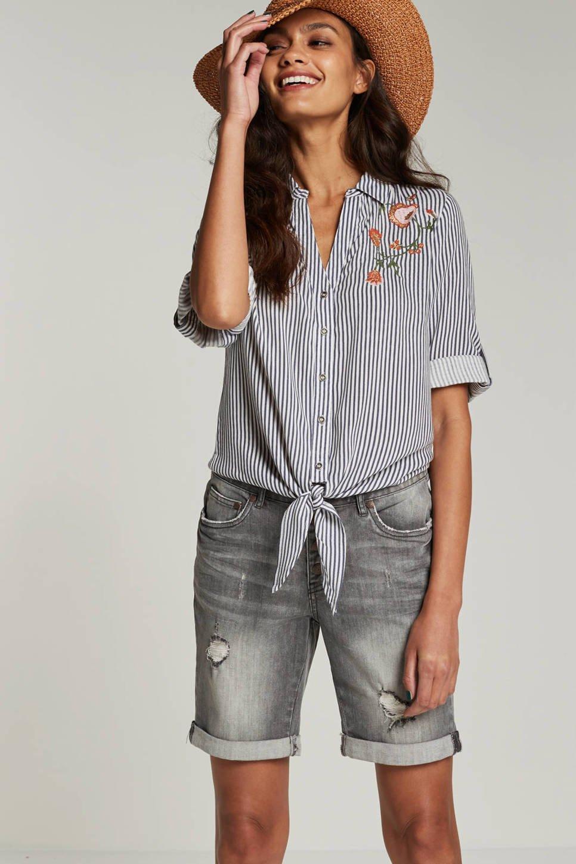 whkmp's beachwave blouse met striksluiting (dames), Blauw/wit