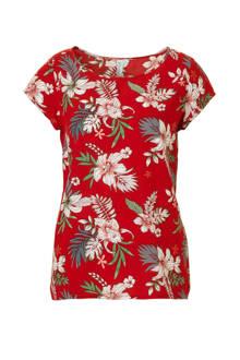 rode top met bloemenprint