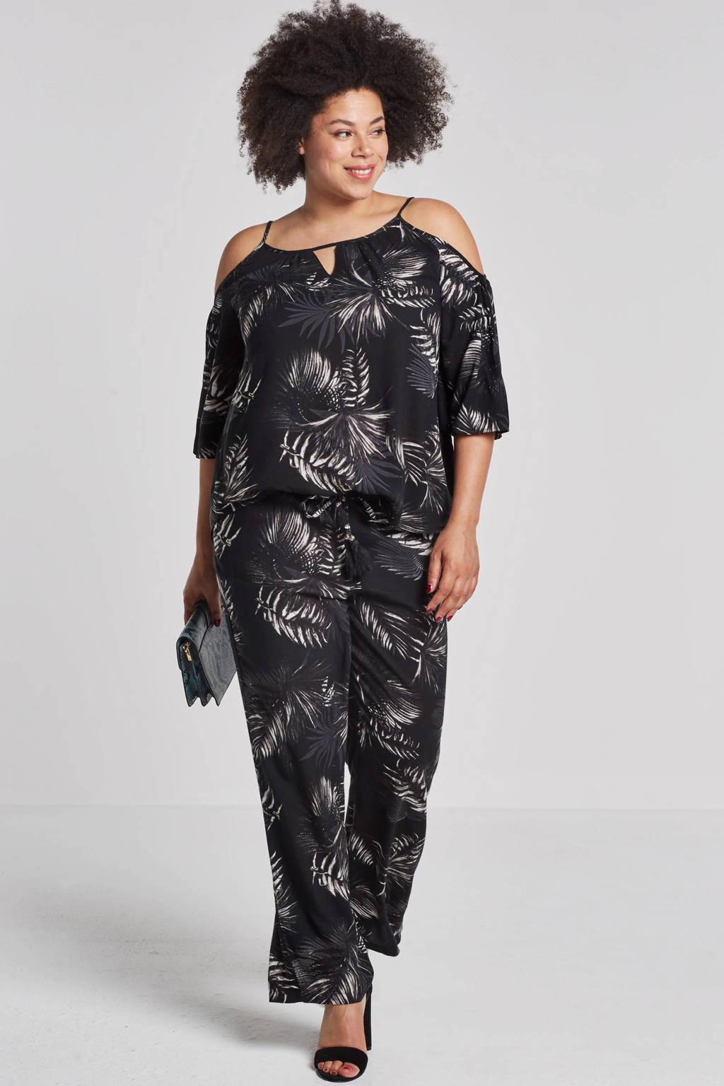 whkmp's beachwave broek met bladdessin, Zwart/grijs