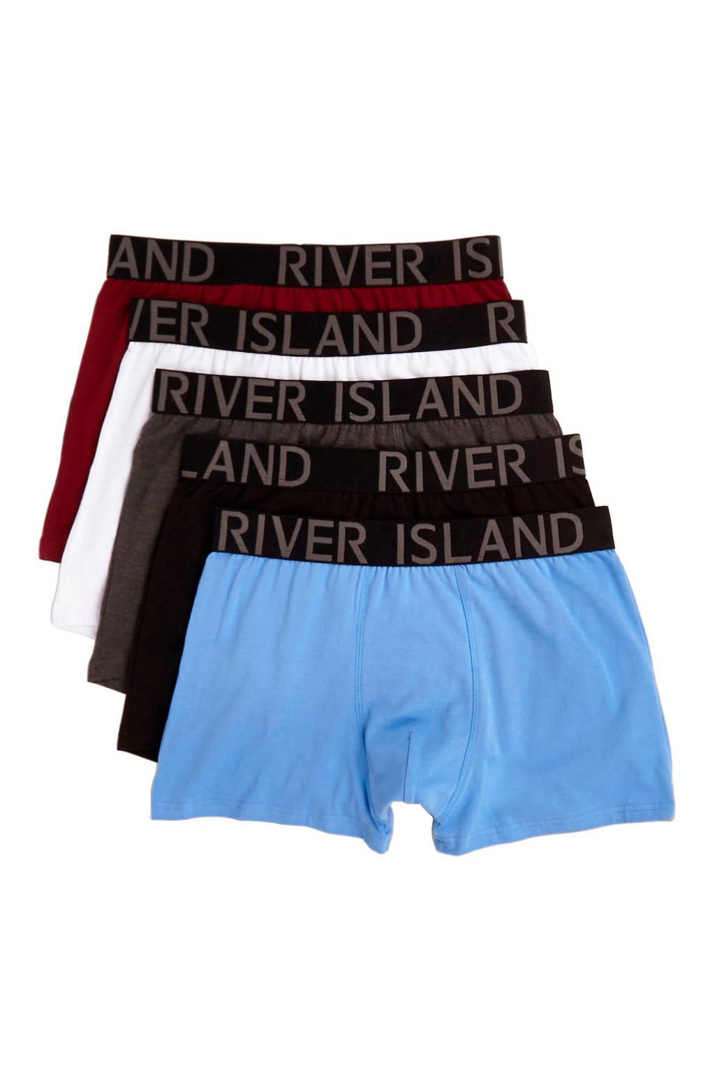 River Island boxershort (set van 5), Blauw/zwart/wit/rood