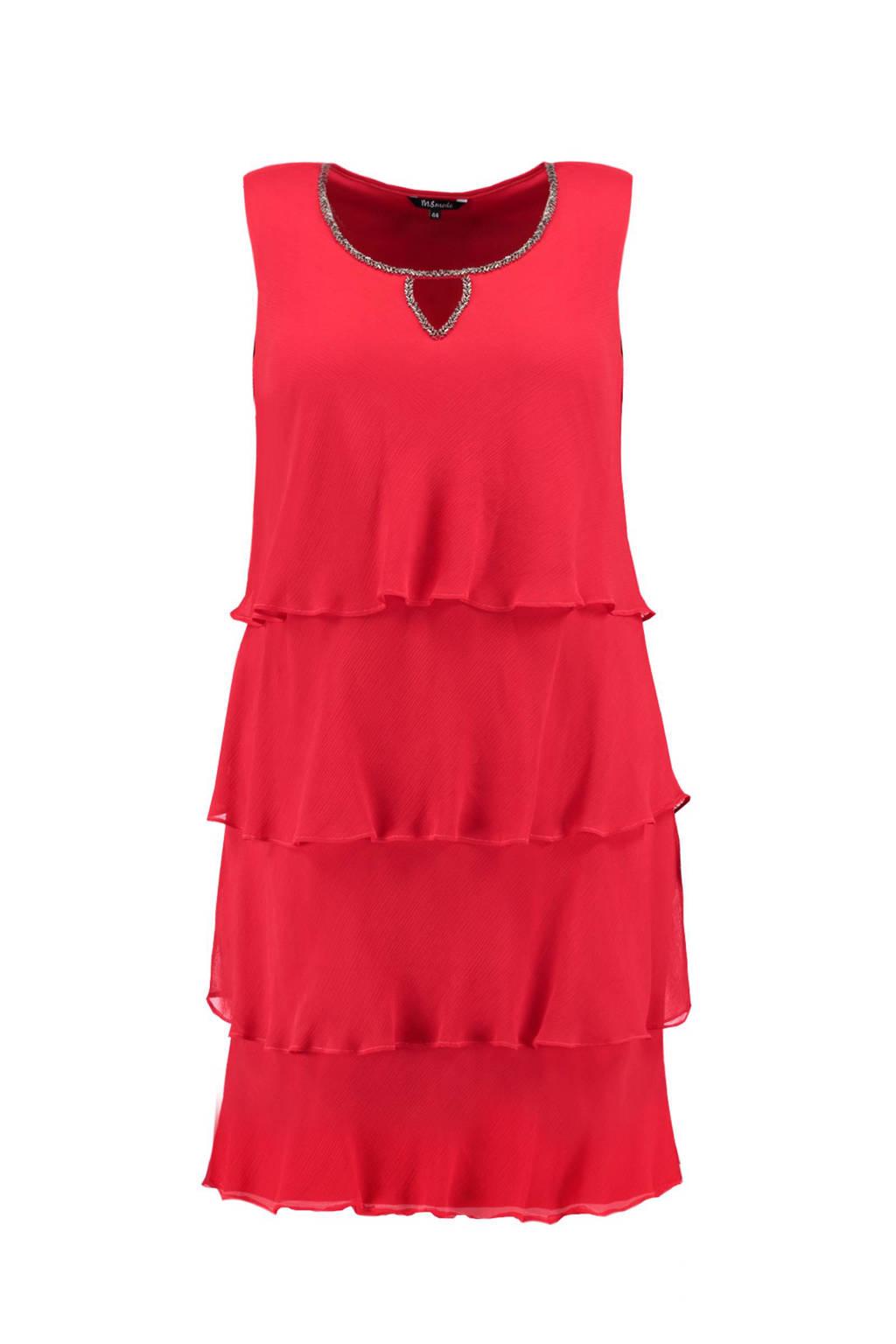 MS Mode jurk met volant, Rood