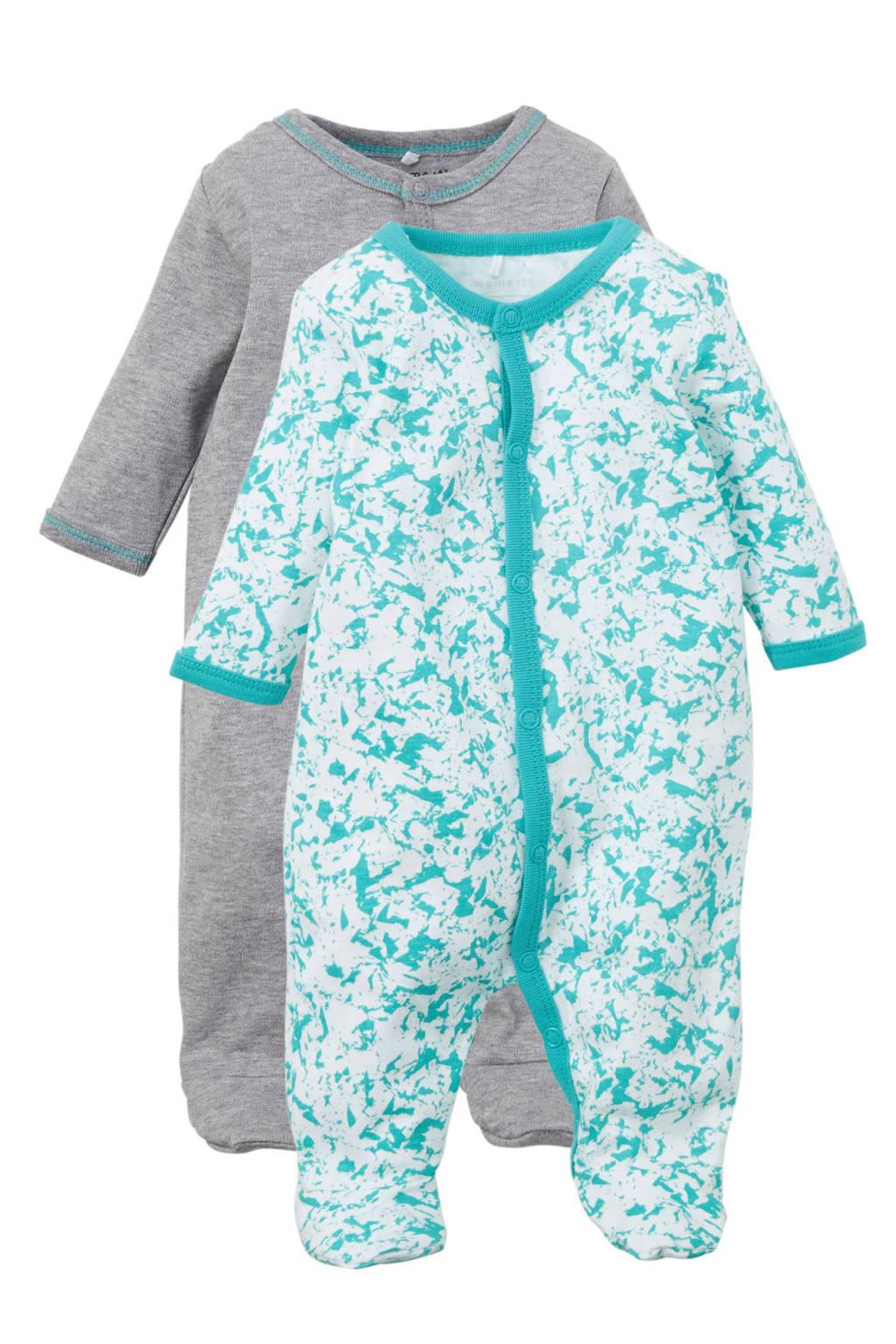 name it BABY   newborn pyjama (set van 2), Donkergrijs melange/blauw/wit