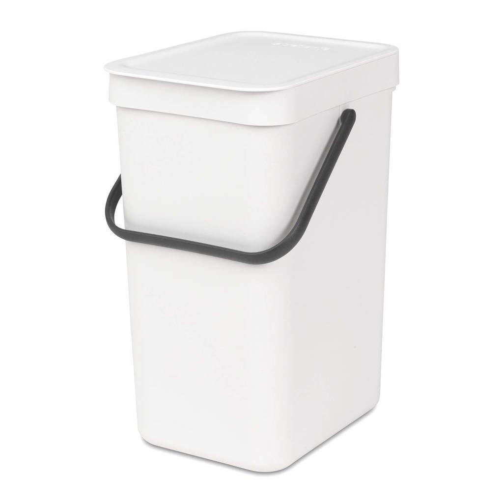 Brabantia Sort & Go afvalemmer, 12 liter, Wit