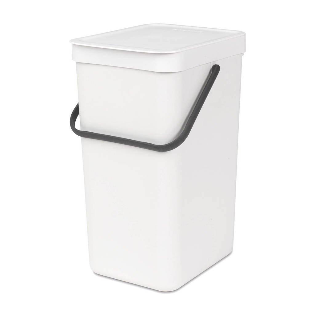 Brabantia Sort & Go afvalemmer, 16 liter, Wit
