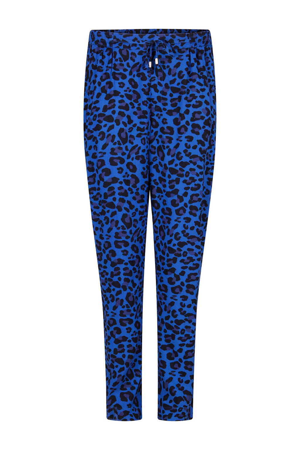 WE Fashion Aylin tapered fit broek met panterprint blauw, Blauw
