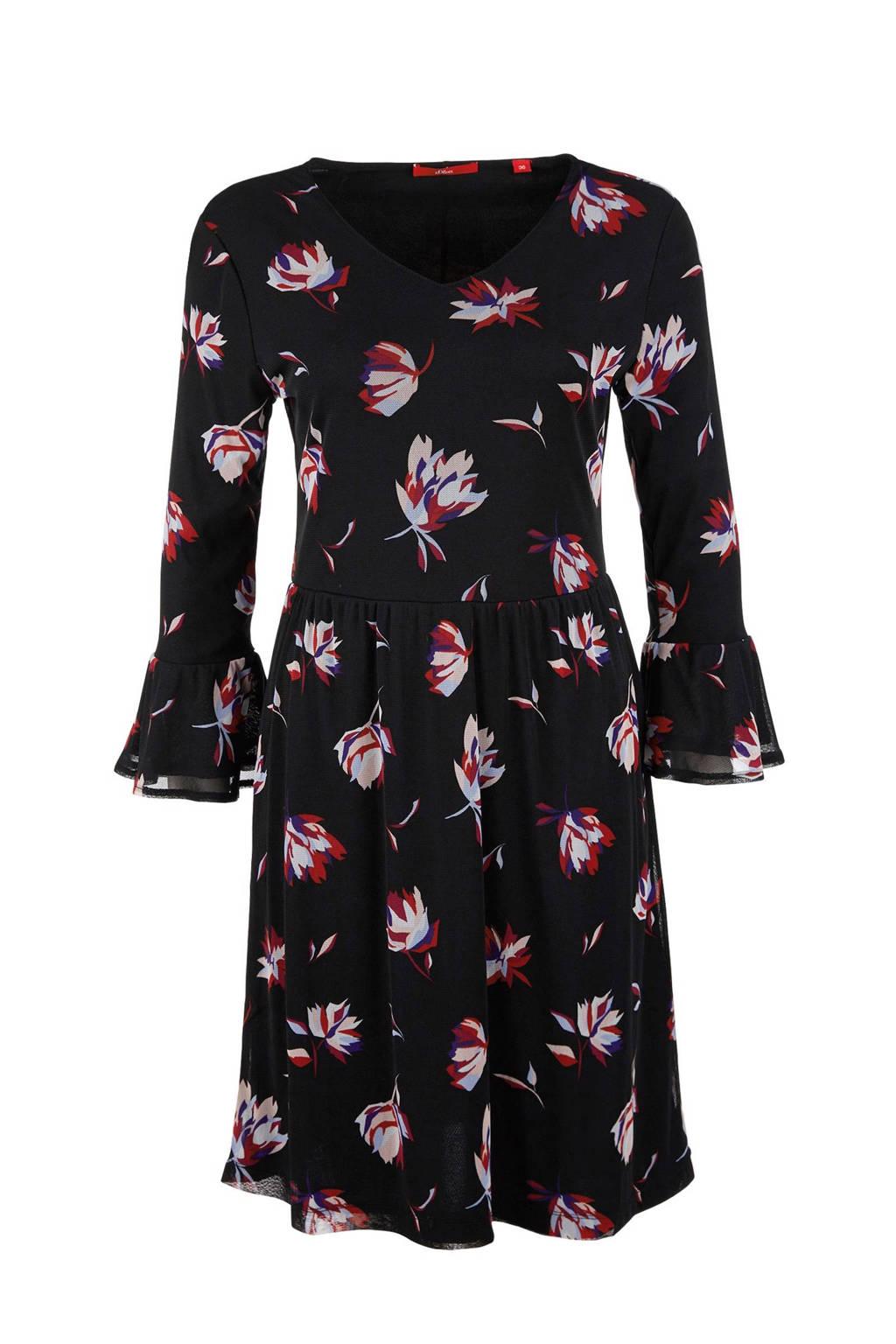 s.Oliver bloemen jurk, Zwart