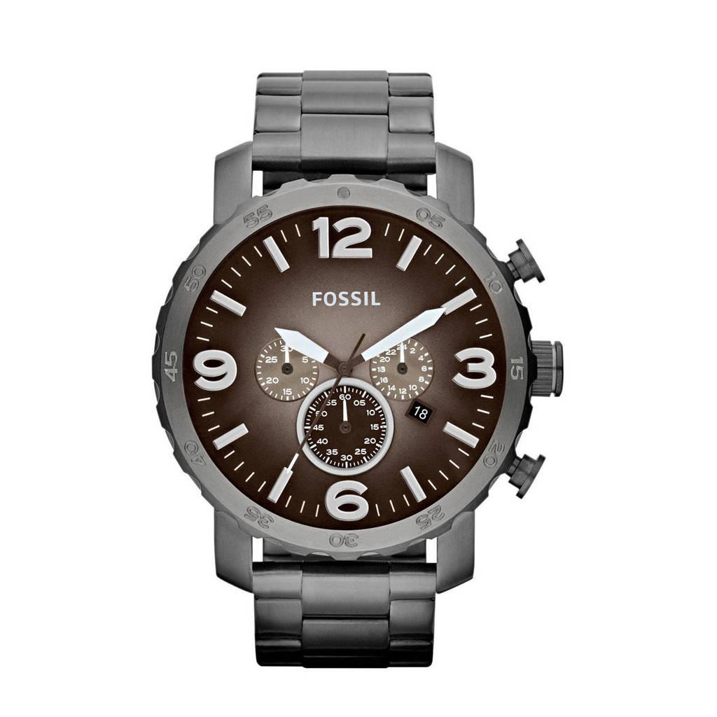 Fossil Nate Heren Horloge JR1437, Zwart/staal