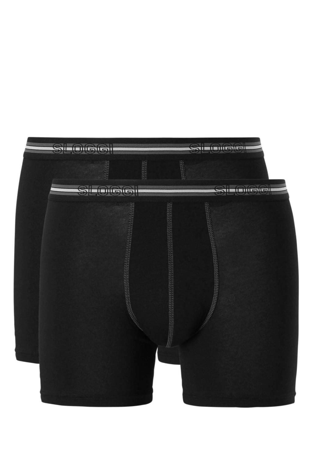 Sloggi boxershort (set van 2) zwart, Zwart