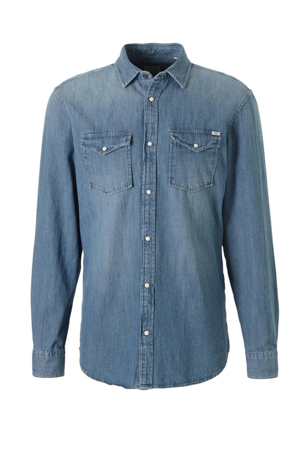 JACK & JONES ESSENTIALS Sheridan slim fit overhemd, Medium blue denim