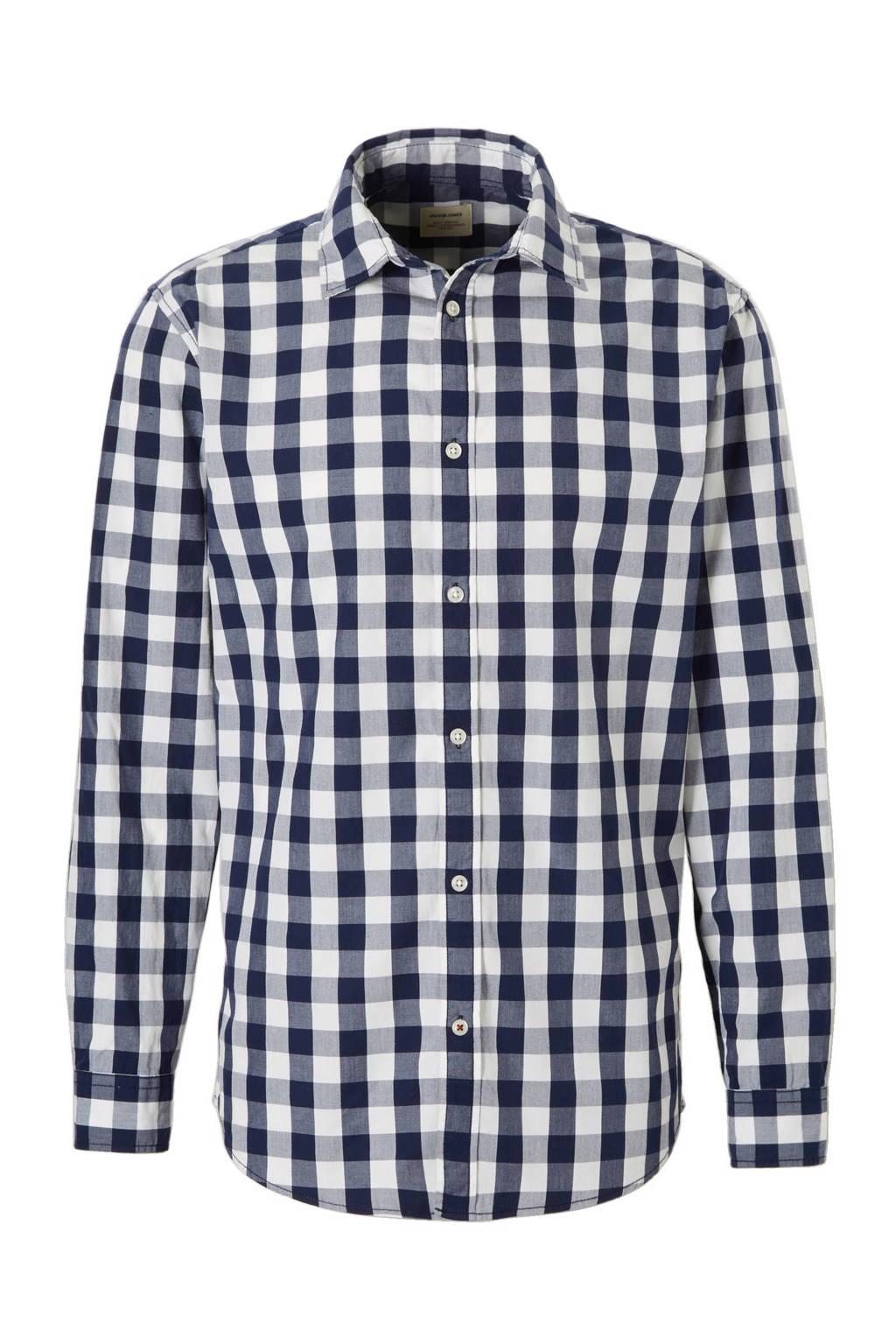 JACK & JONES ESSENTIALS Gingham regular fit overhemd, Wit/marine