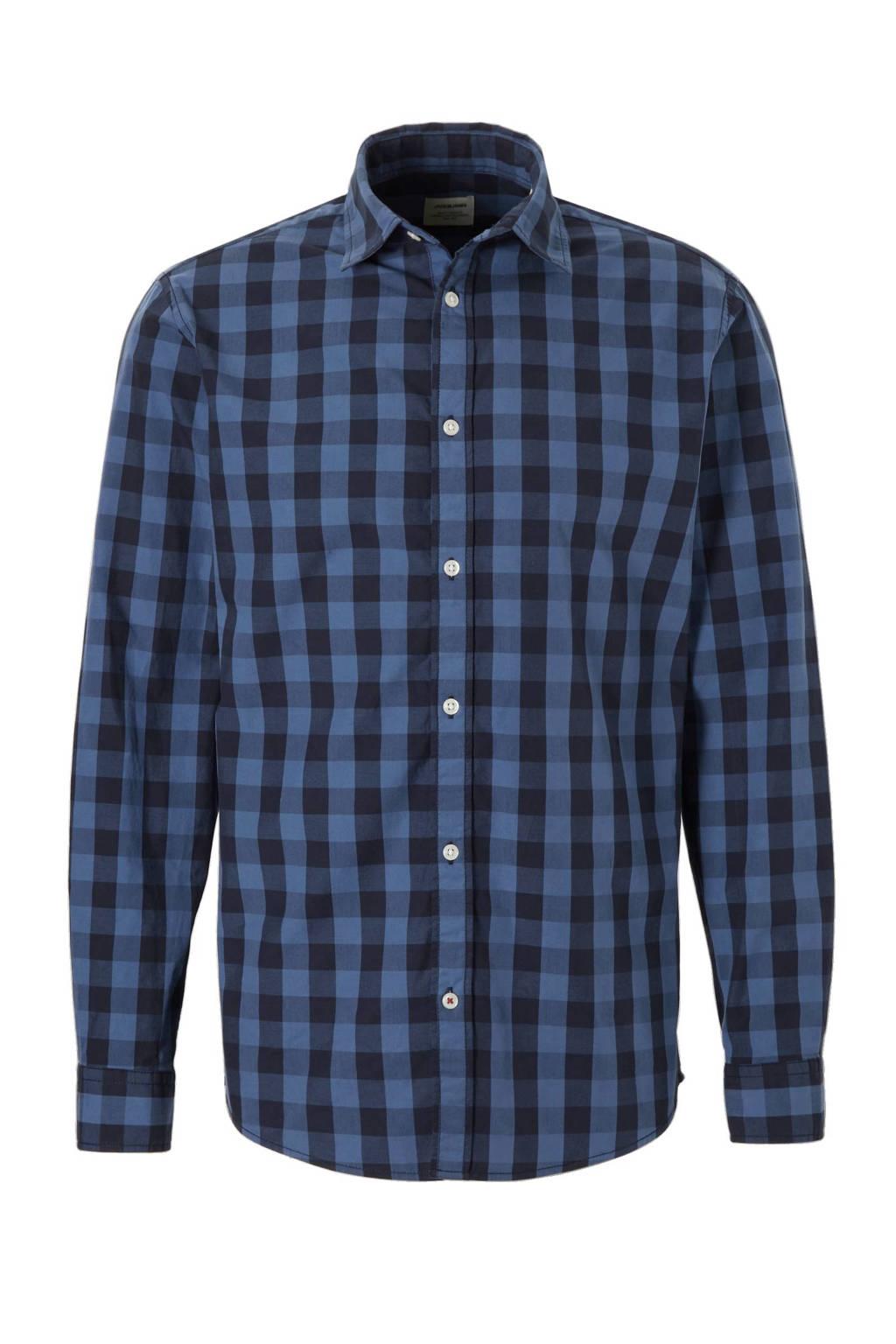 Jack & Jones Essentials Gingham regular fit overhemd, Marine/zwart