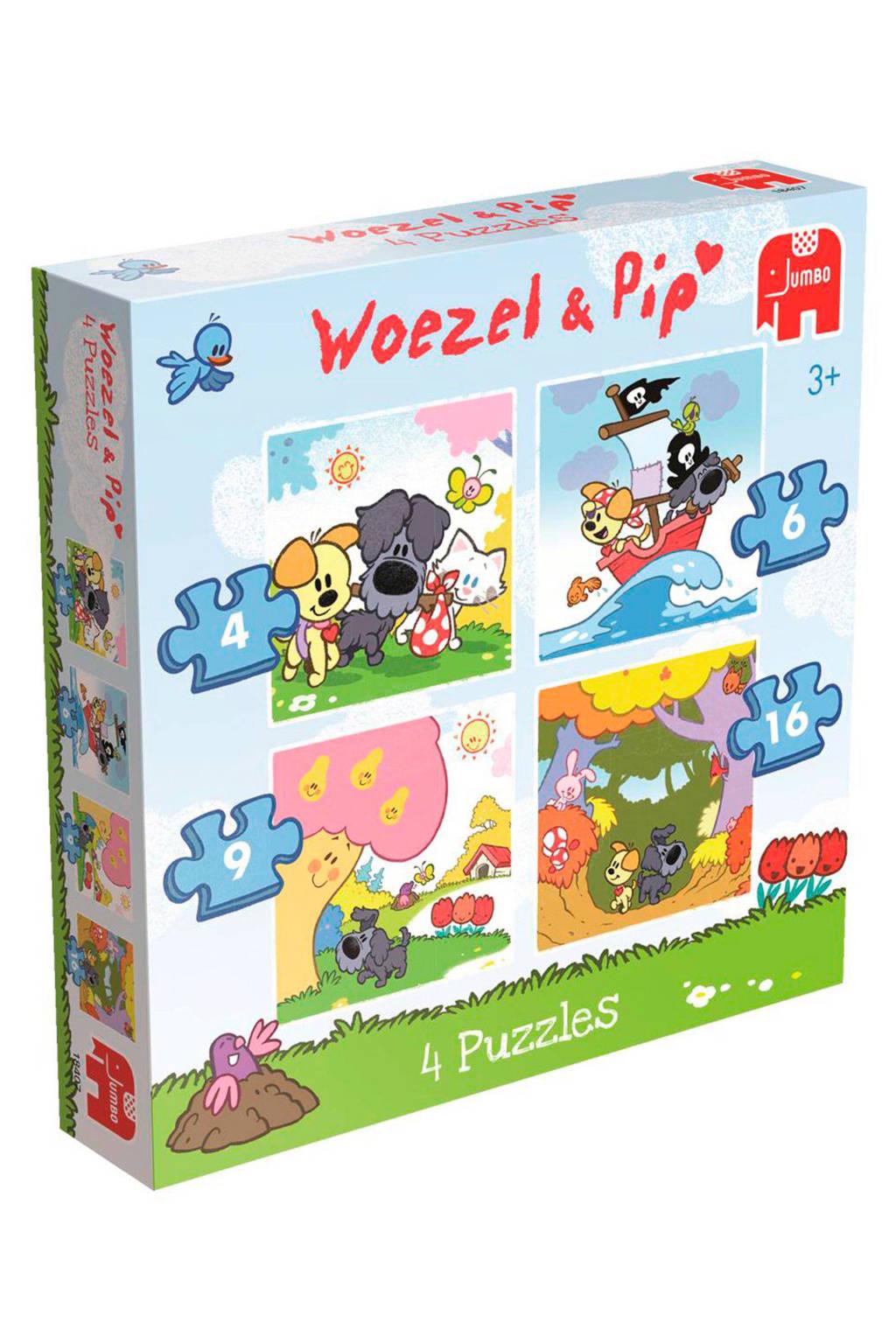 Jumbo Woezel en Pip 4-in-1  vormenpuzzel 35 stukjes