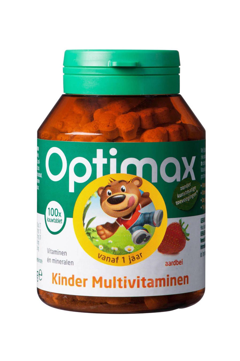 Optimax Kinder Multi Aardbei - 100 kauwtabletten, 100 stuks