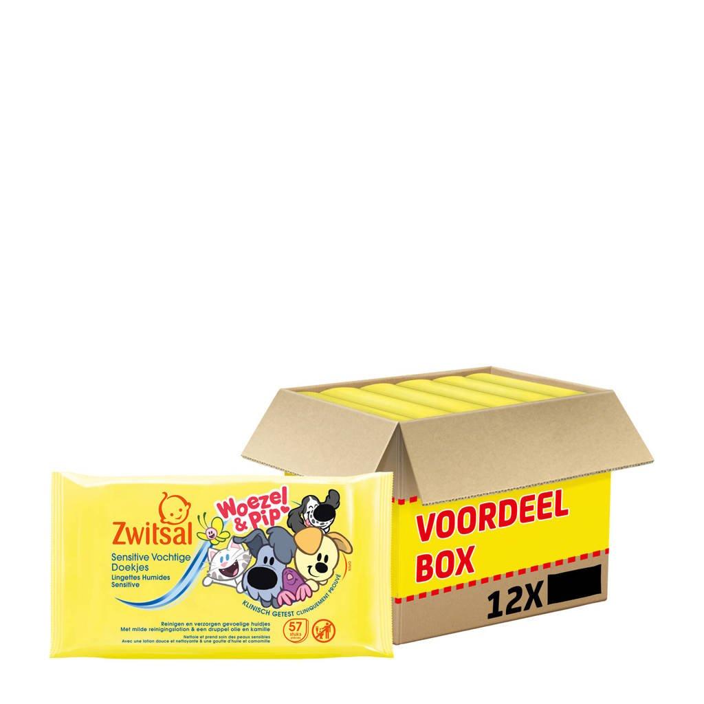 Zwitsal Woezel & Pip Sensitive 12x57 vochtige babydoekjes - baby, 684 stuks / 12 pakjes