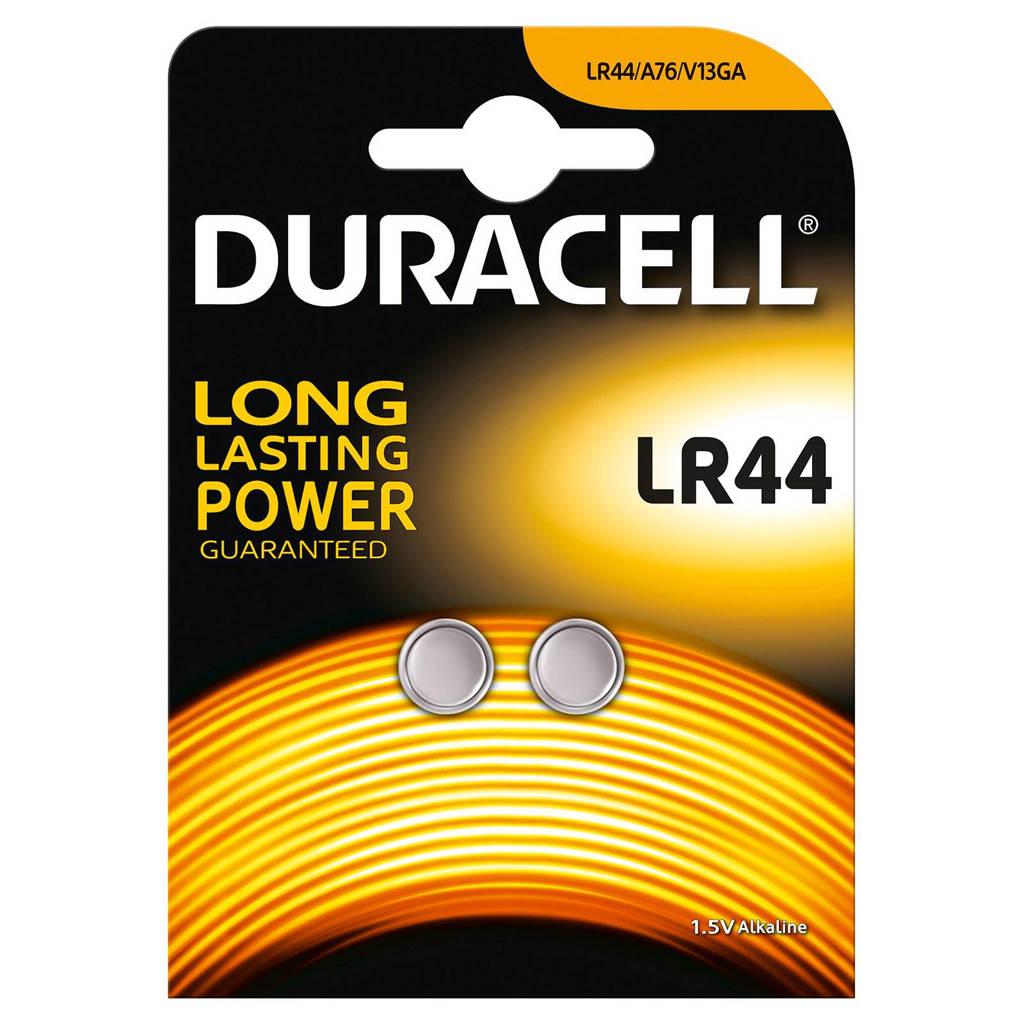 Duracell  LR44 alkaline knoopcelbatterij, verpakking van 2