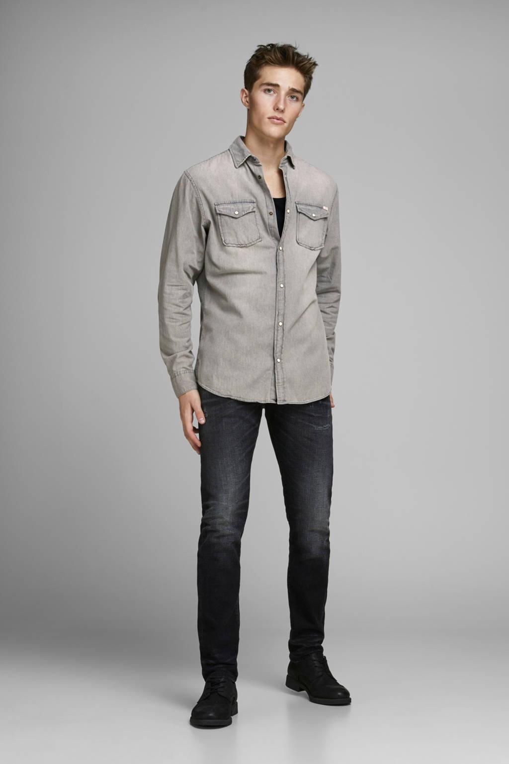 JACK & JONES ESSENTIALS slim fit overhemd JJESHERIDAN light grey denim, Light Grey Denim