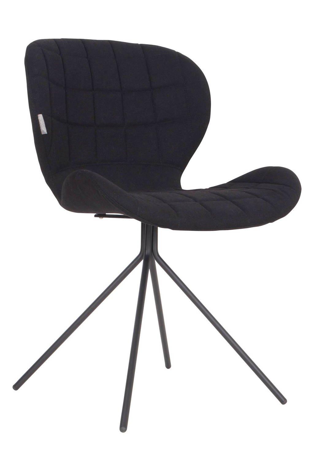 Zuiver OMG eetkamerstoel (set van 2), Zwart, polyester/multiplex/staal