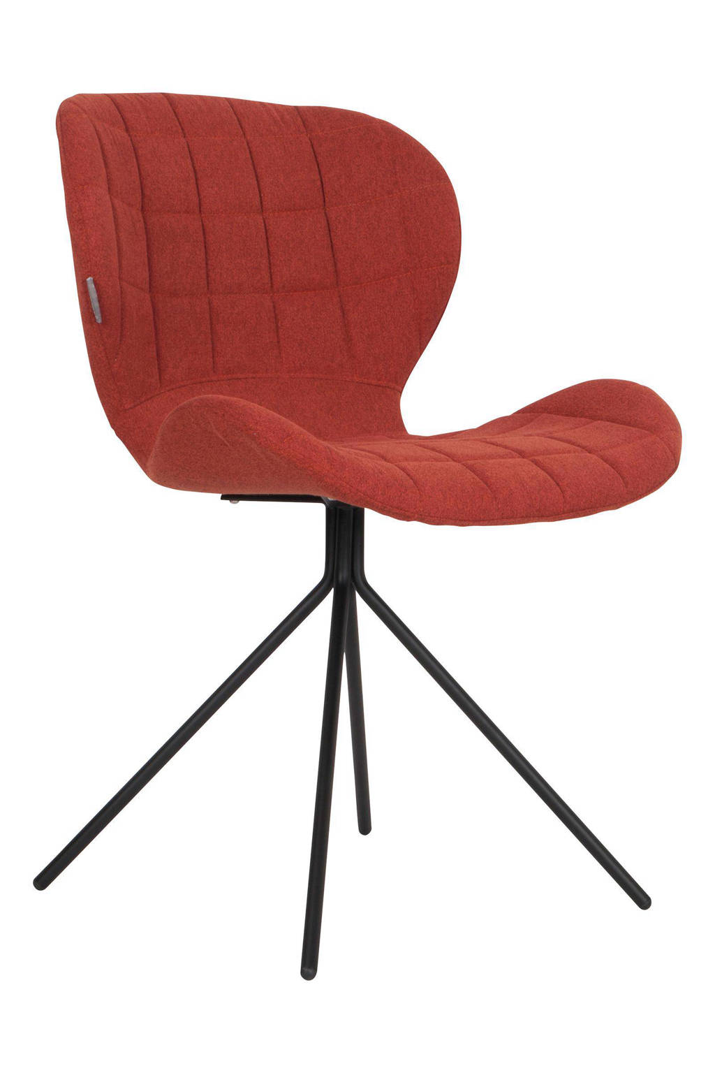 Zuiver OMG eetkamerstoel (set van 2), Oranje, polyester/multiplex/staal