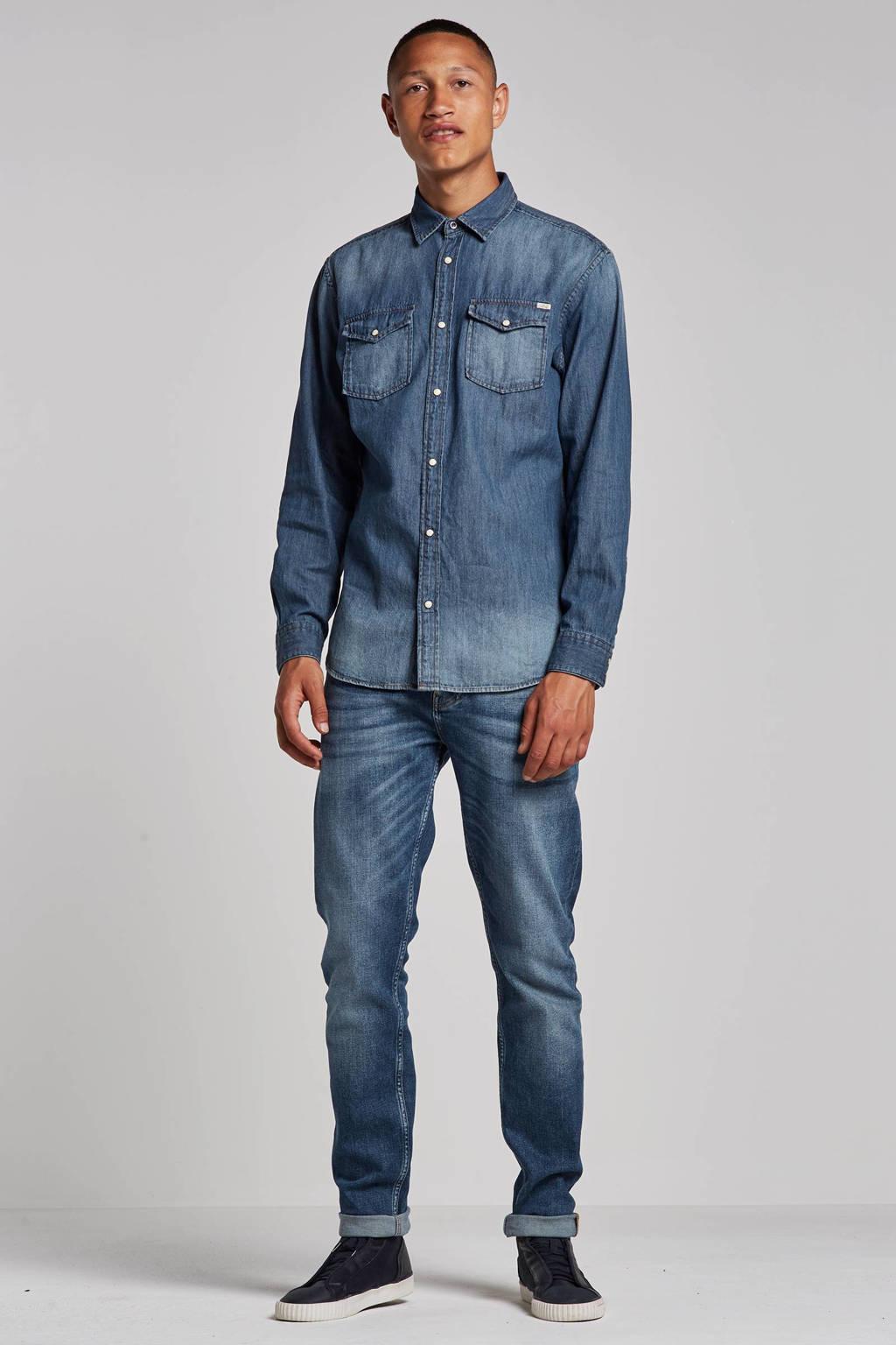 JACK & JONES ESSENTIALS Sheridan slim fit overhemd, Dark blue denim