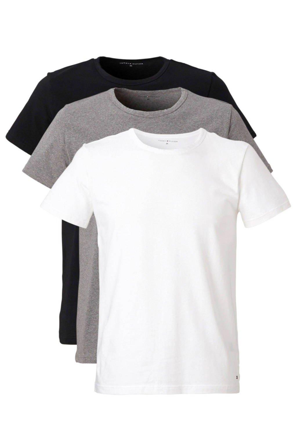 Tommy Hilfiger T-shirt (set van 3), Zwart/grijs/wit