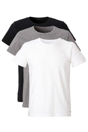 T-shirt (set van 3) zwart/grijs/wit