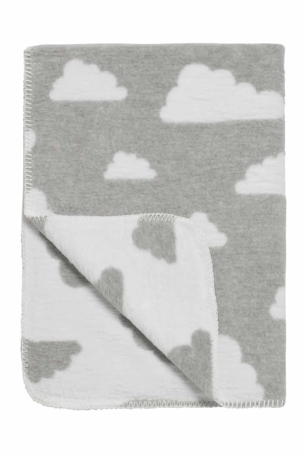 Meyco Little Clouds ledikantdeken 120x150 cm grijs, Grijs