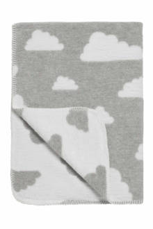 Little Clouds ledikantdeken 120x150 cm grijs