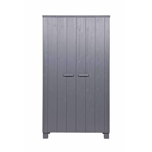 Woood 2-deurs kledingkast Dennis Steel Grey