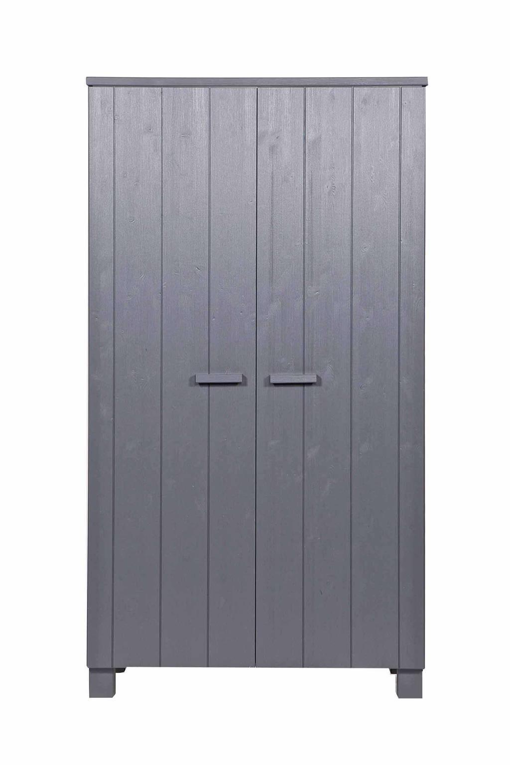 Woood 2-deurs kledingkast Dennis, Steel grey