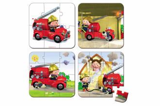 Leon's brandweerwagen koffer  vormenpuzzel 43 stukjes
