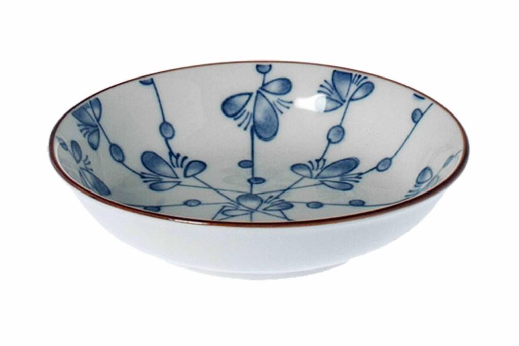 Riverdale Leaves schaaltje (Ø10 cm), Blauw/wit