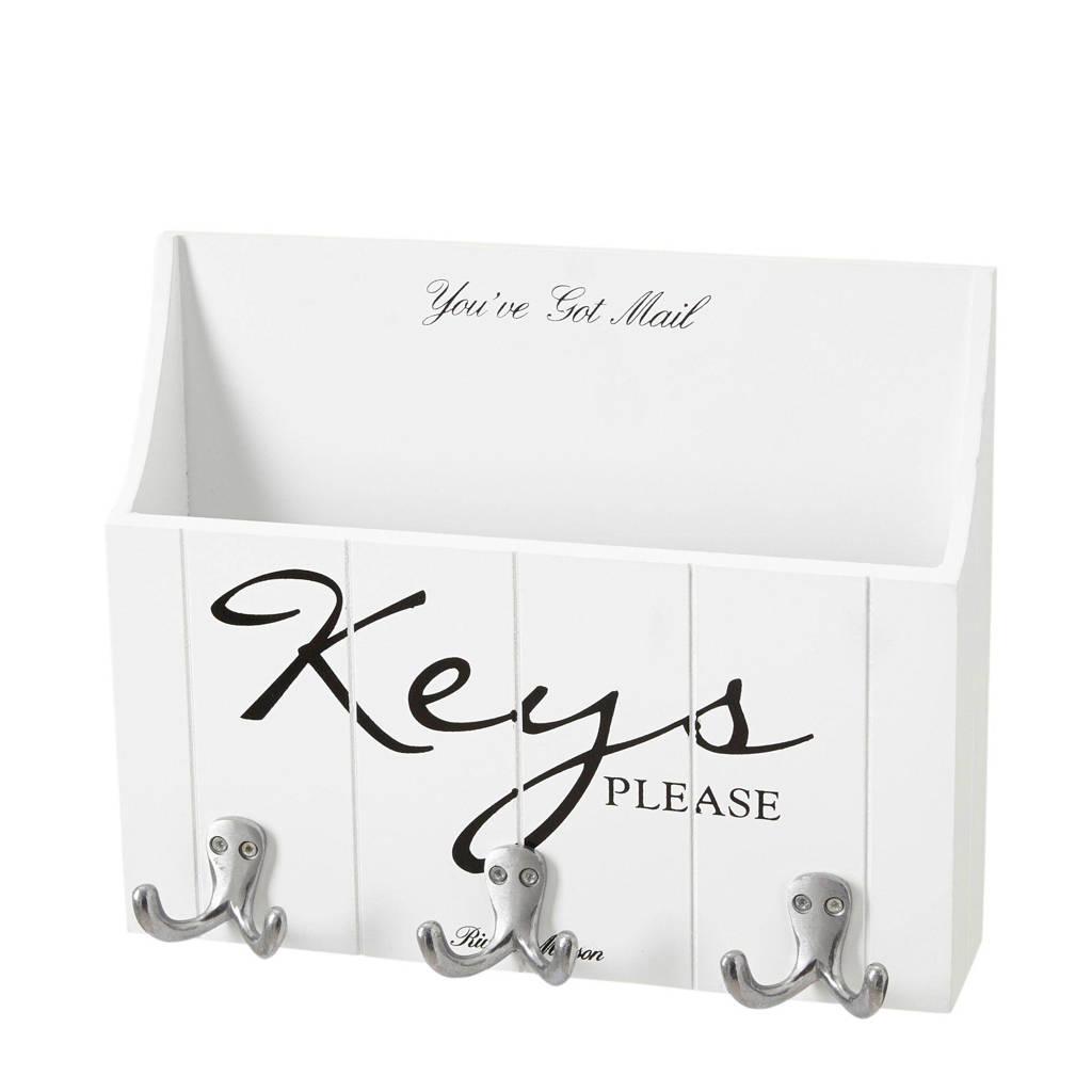 Riviera Maison sleutelrek Keys Please, Wit/Zwart/Zilver