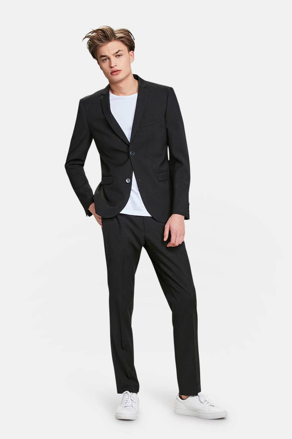 WE Fashion skinny fit colbert zwart, Zwart