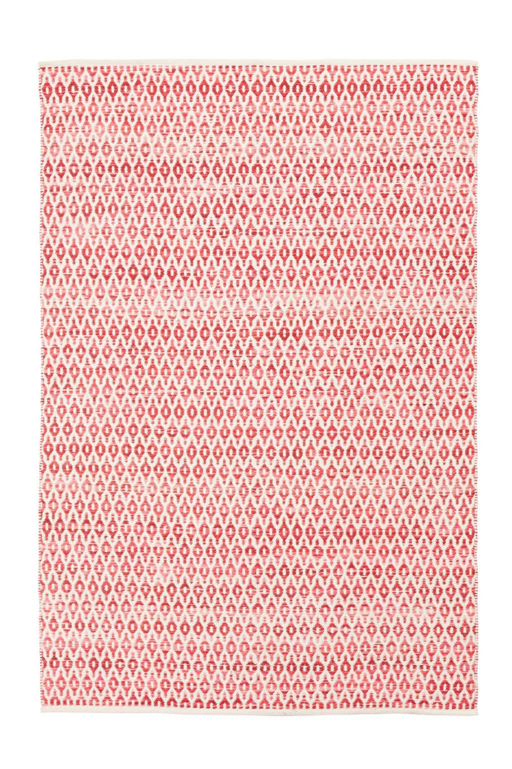 whkmp's own Vloerkleed (wol)  (230x160 cm), Rood/offwhite