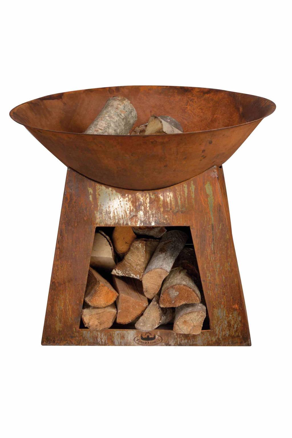 Esschert vuurkorf met houtopslag, Roest