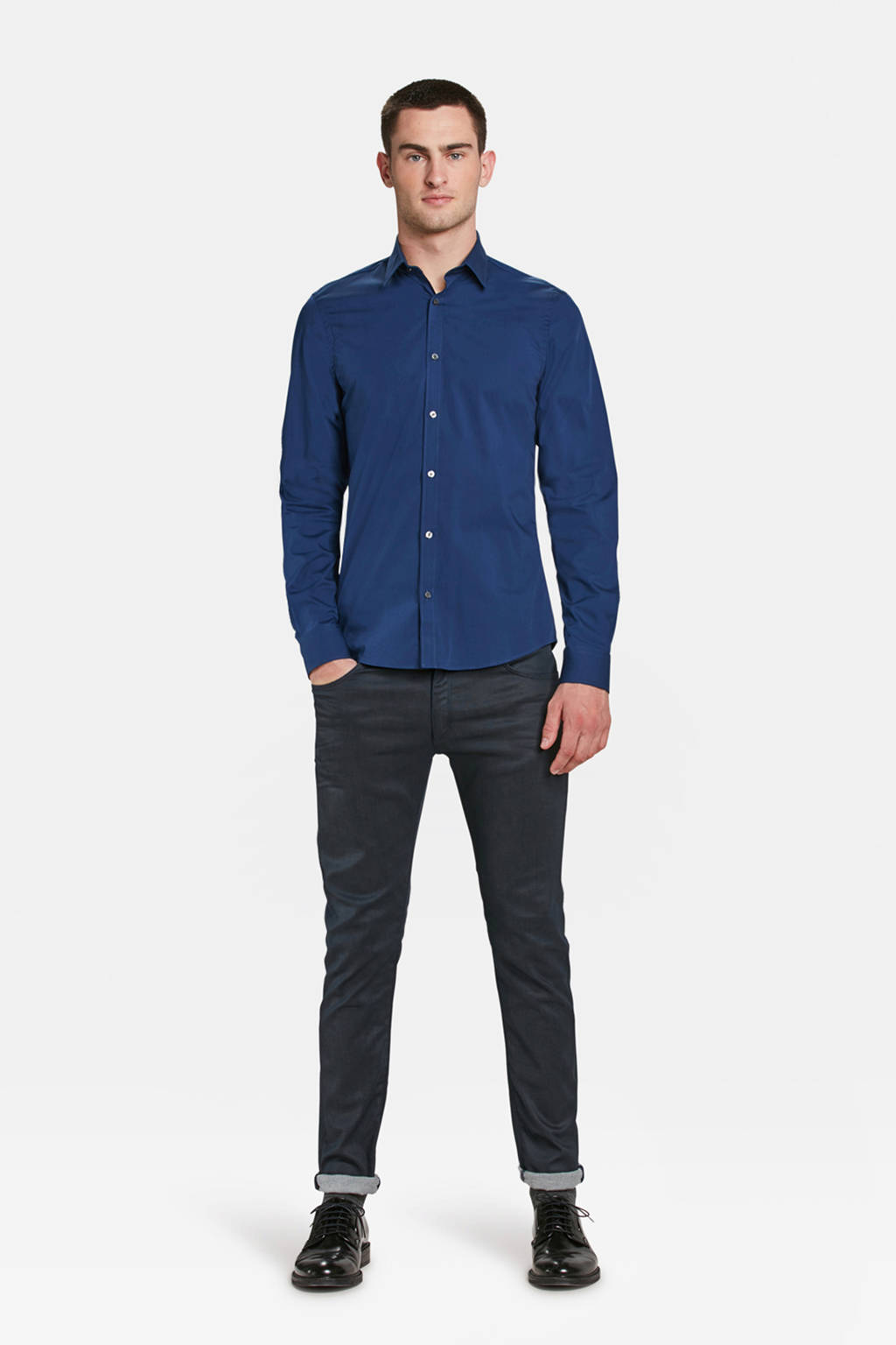 WE Fashion Fundamentals slim fit overhemd, Intense Blue