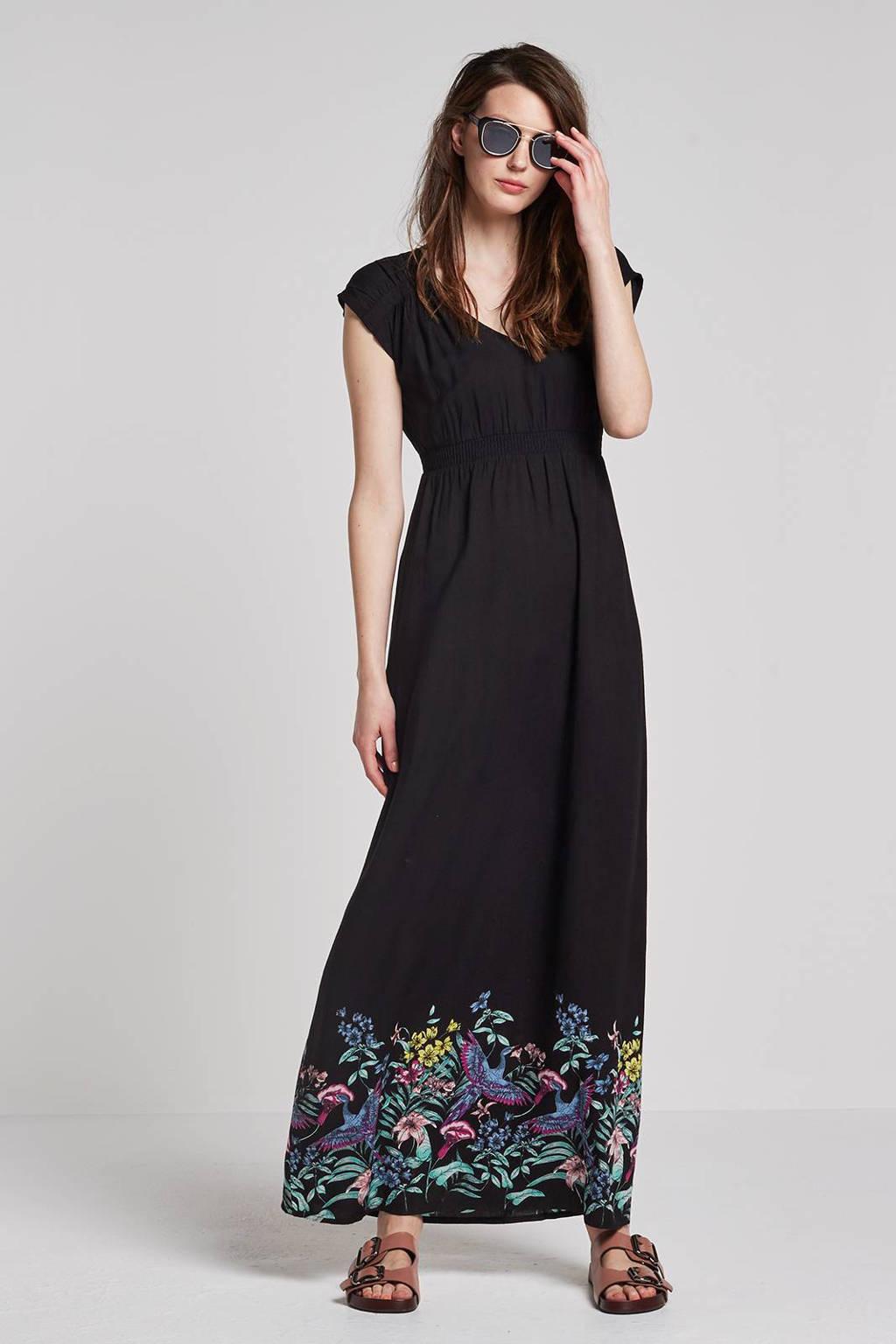 whkmp's beachwave maxi jurk met bloemenprint, Zwart/groen/blauw