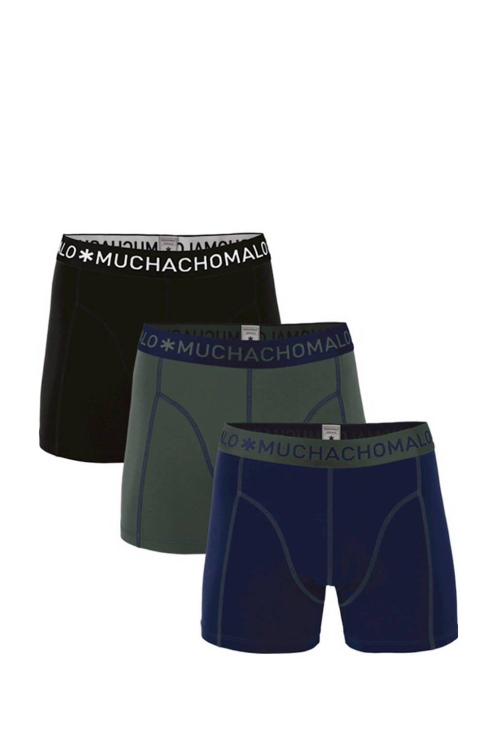 Muchachomalo   boxershort -set van 3 donkerblauw/army/zwart, Donkerblauw/armygroen/zwart