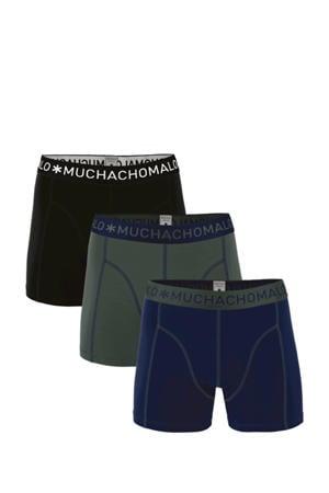 boxershort -set van 3 donkerblauw/army/zwart