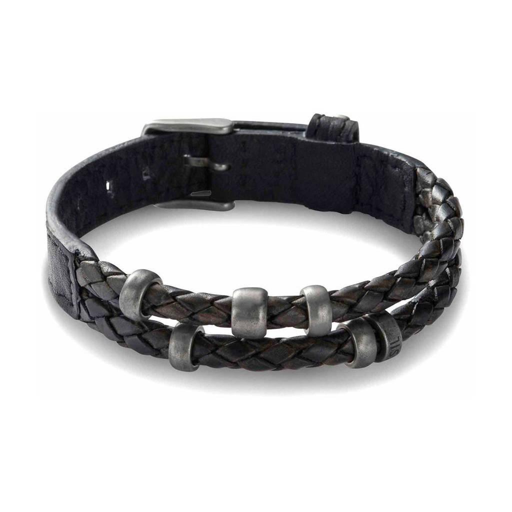 Fossil Vintage Casual Heren Armband JF85460040, Zwart