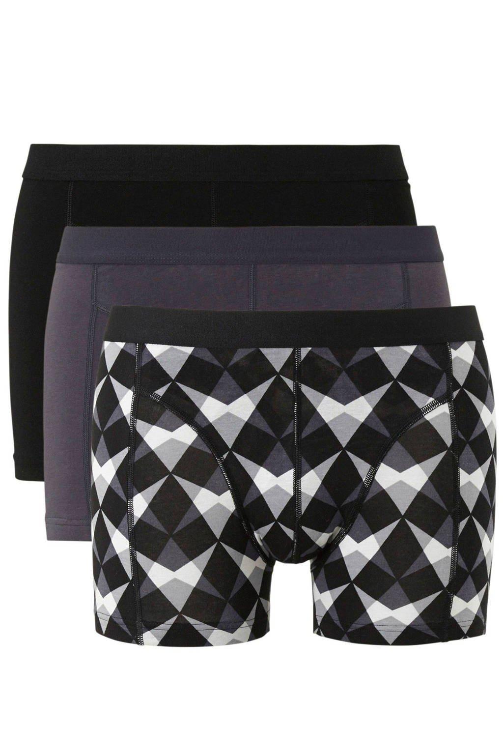 whkmp's own boxershort (set van 3), Zwart/grijs/wit